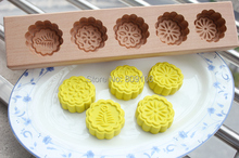 Wholesale /retail,free shipping,5 hole Wood Green bean cake pasta wool pastry pumpkin pie moon cake mold mandoo handmade  mould