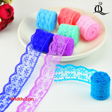 free shipping 20mm width mix Cheap Lace Fabric Trim Ribbon 10yard/lot DIY Garment Accessories embroidered lace ribbon Bilateral(China)