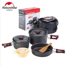 Naturehike Camping Cookware Pot Pans Outdoor Cooking Set Pot Picnic A Set Of Stainless Steel Saucepans Foldable Tableware(China)