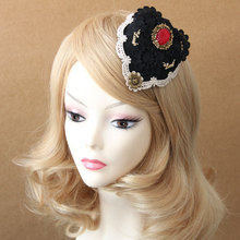 Princess Gothic lolita hair accessories Vintage black lace headdress flower anchor hosting small hat hair clip hairpin FJ - 176