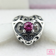 Fits Pandora Style Bracelets Rose red Pierced heart shape Charms 100% Authentic 925 Sterling Silver Beads Wholesale