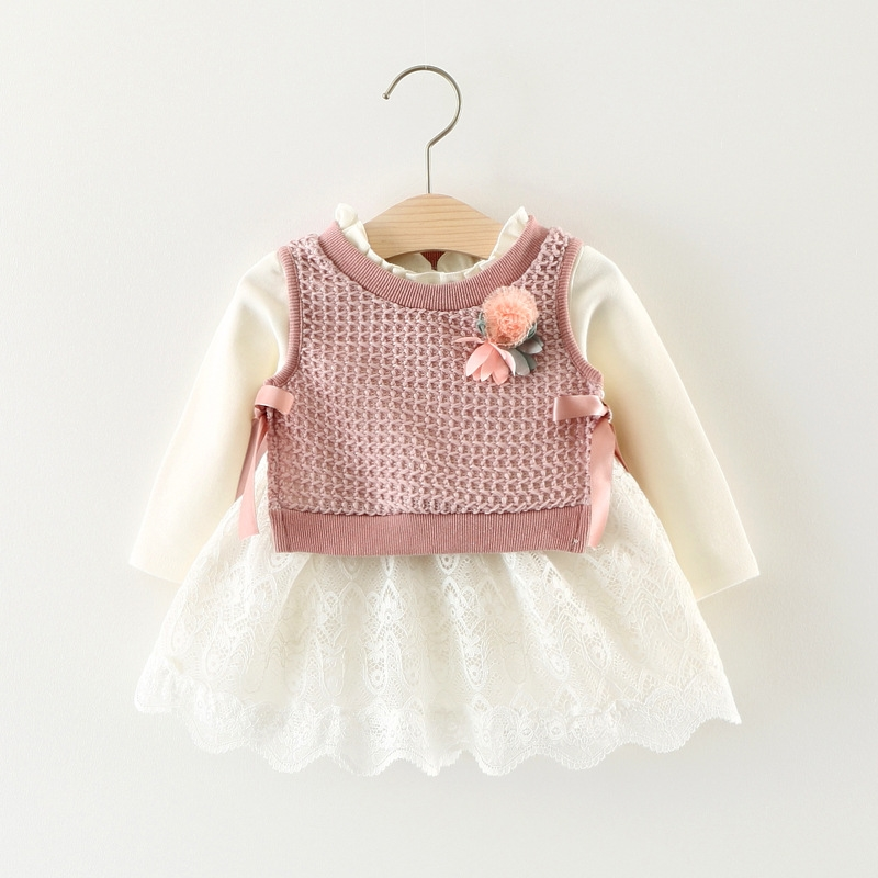 baby girl knitted dress new born kids toddler infant long sleeve autumn spring 3 6 12 24 36 months 1 2 3 years birthday