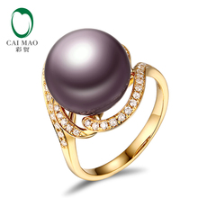 18k Yellow Gold precious 12-13mm Round Freshwater Pearl Ring 0.24ct Natural Diamond manufacturer Free Shipping(China)