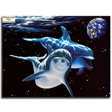 Peter ren Diy diamond painting cross stitch kit Diamond embroidery Dolphin House 3d square Diamond mosaic pasted Full Stickers
