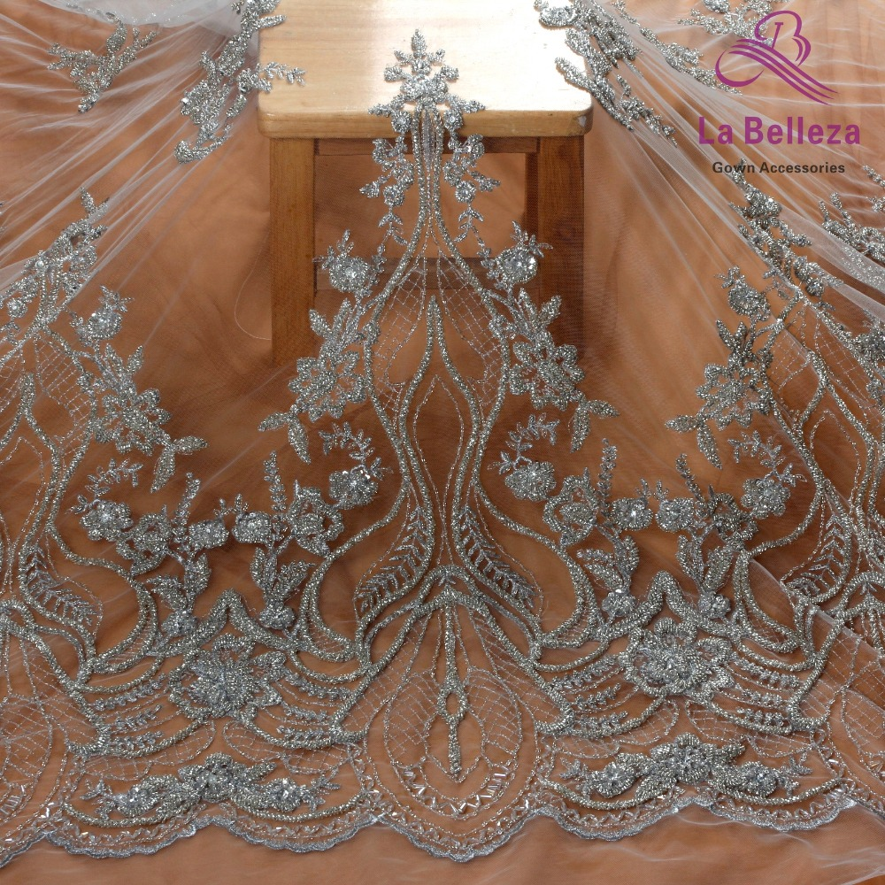 Heavy Embroidered Beads Fashion Wedding Dress Silver Beaded Fabric By The Yard