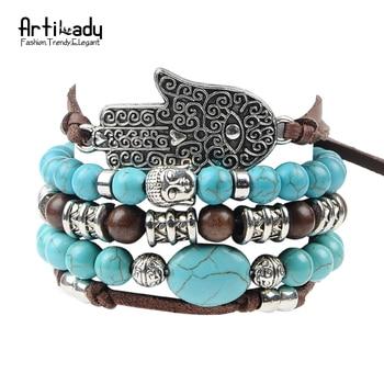 Artilady new hamsa hand 5pcs set leather bracelets boho turquoise bracelet set for statement  women jewelry party gift