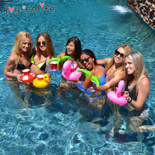 JOY-ENLIFE Mini Unicorn/Flamingo/Donut Inflatable Cup Holder Beverage Boats Summer Pool Party Hawaii Beach Party Supplies
