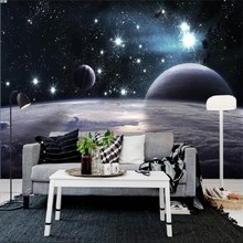 Free Shipping Cosmic sky ceiling theme large mural Bedroom Sofa bar KTV background wallpaper 3D Wallpaper