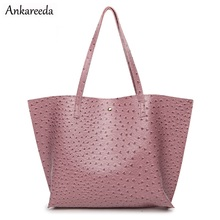 Ostrich Pattern New Design Women Luxury Tote Bags Female PU Leather Fashion Holder Handbags High Quality Shoulder Shopping Bags