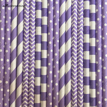 (25 pieces/lot) Lilac Party Paper Straws Lavender Polka Dot Chevron Stripes Horizontal Striped Rustic Wedding Supplies Straws(China)