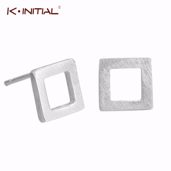 1pair 925 Sterling Silver Hollow Square Geometric Stud Earrings For Women Lady Sterling-silver-jewelry Pendientes Mujer Bijoux