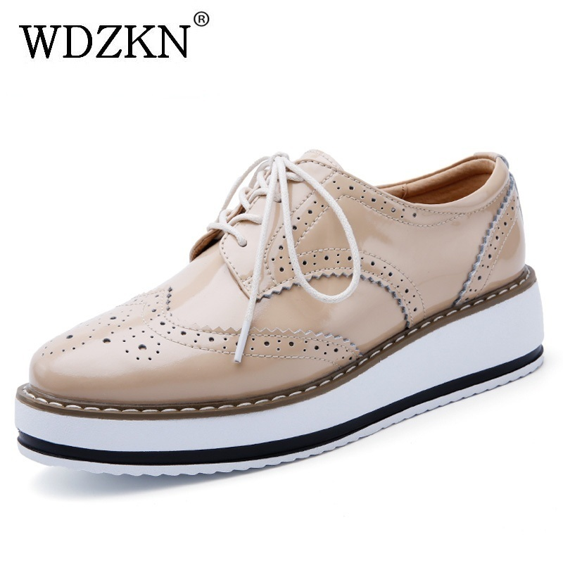 WDZKN handmade patent leather flat shoes women flats spring autumn carved embossed round toe platform women oxford shoes<br>