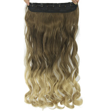 Soowee 60cm Long Wavy Brown to Blonde Women Hair High Tempreture Synthetic Ombre Hair Piece 5 Clip in Hair Extensions