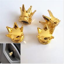 New 4PCS Car Golden Crown Type Tire Wheel Valve Stems Air Dust Cover Caps For Cars 0