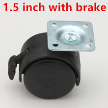 Dia.1.5 inch Omni-directional black wheel with brake furniture caster wheel(China)