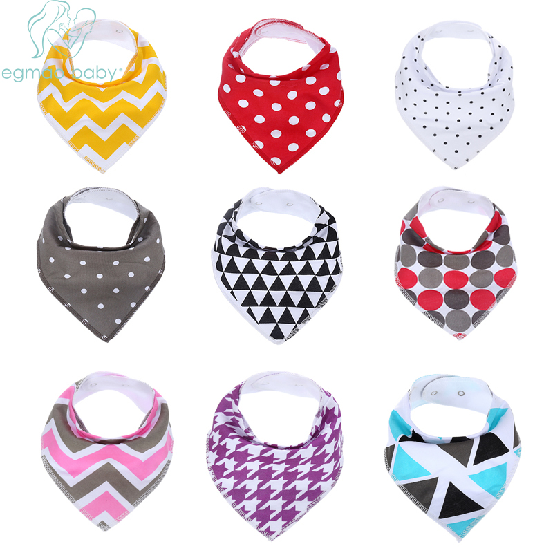 Infants Kids Cotton Burps Cloth Bandana Bibs For Drooling 9PCS LOT Baby Bib Burp Cotton Driddle Bibs Bavoirs Saliva Towel(China)