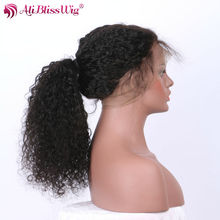 AliBlissWig Curly 360 Lace Frontal Wigs With Baby Hair Natural Color Brazilian Remy Hair 100% Human Hair 150% Density
