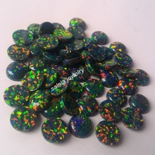 500pcs/lot g 8MM  Round Black Fire Opal OP32 Black Opal Synthetic Round Cabochon Fire Opal for Body Piercing Jewelry