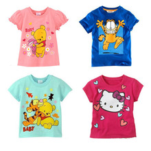 Free shipping New 1pcs  baby bay  girl hello kitty Shirts  bear  Kids blouses Children Summer Wear Short Sleeve Children clothes