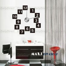 1x Wholesale Adhesive Modern 3D Frameless Large DIY Wall Clock Room White Digit on Black Sticker Home decor 12S019 MAX3 Brand