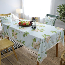 2018 Spring New Arrival Household America Country Green Orchid Cotton Linen Table Cloth Waterproof Cafe Decoration Table Cover(China)