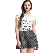 SexeMara Knitting H661 2016 Hot Women T Shirt Wild White Tee You Gotta Risk It To Get The Biscuit Print Funny Couple Clothes(China)