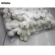10PCS/LOT Kawaii Small Joint Teddy Bears Stuffed Plush With Chain 12CM Toy Teddy-Bear Mini Bear Ted Bears Plush Toys Gifts 02308(China)
