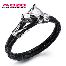 Buy MOZO FASHION Vintage Men Jewelry Black Leather Rope Chain Bracelets Stainless Steel Wolf Head Design Man Charm Bracelet PS1045 for $4.44 in AliExpress store