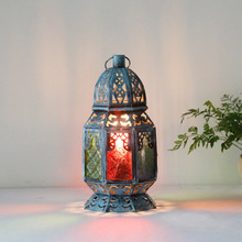 Vintage Bohemia Blur Iron Glass Lantern E27 Table Lamp For Cafe Bar Restaurant Living Room Deco H 36cm 1443(China)