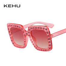 KEHU New Fashion Trend Color Diamond Women Sunglasses Classic Square Prevent Bask Glasses Individuality Eyeglasses UV400 K9268(China)