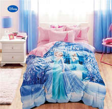 Disney Frozen Elsa Printed Comforter Bedding Sets for Girls Bedroom 600TC Cotton Bed Cover Single Twin Full Queen Size Pink Blue