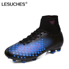 LESUCHES Men's Blue Orange High Ankle Long Spikes Sport Cleats Football Boots Male Outdoor Sapatos de futebol RnA53(China)