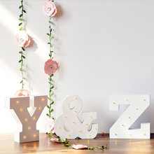 Wooden Luminous Alphabet Led Neon Plate Lighted Letters Sign Desk Light For Home Wall Decoration(China)