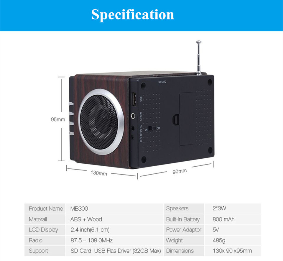 August MB300 Mini Wood FM Radio with MP3 Stereo System