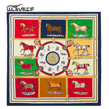 100% Twill Silk Small scarf Women Ten Horses Gift Silk Shawl square 60cm*60cm Fashion French design handkerchief Femal pz02