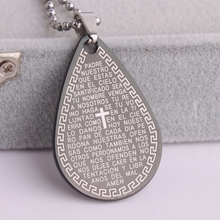 10pcs/lot Black water drop cross Holy Bible Great Wall pattern Stainless Steel pendant necklaces for men women wholesale(China)