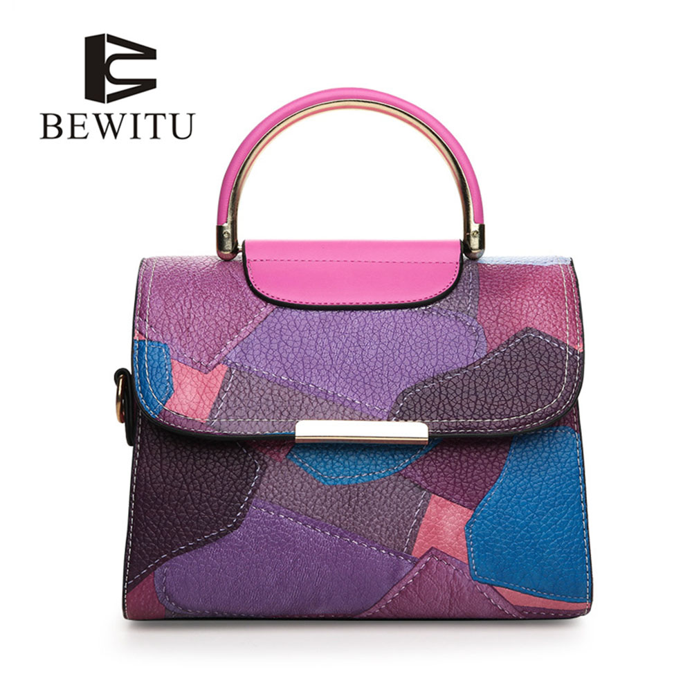 BEWITU Colorful Pu Leather Bags Women Fashion Handbag Patchwork Color Classic Wild Small Square Pu Leather Bags Quilted Handbag<br>
