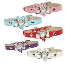 Fashion Flock Leather Bone Type Colored Collars For Small Dog Collar Pet Puppy Cat Collars With Butterfly Bow Pet Leads
