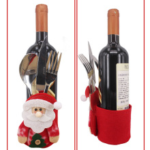 2pcs Fancy Santa Claus Snowman Wine Bottle Holder Christmas Decorations Silverware Holders Pockets Folks Dinner Table Decor Home