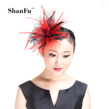 ShanFu Ladies Mesh Fascinator Feather Fascinators Headband Birdcage Veil Hair Clip for Wedding Church Tea Party Red SFD2811