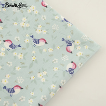 Booksew New Arrival Light Green Cotton Twill Fabric Birds Design Home Textile Patchwork Bedding Clothing Baby Quilting Tecido(China)