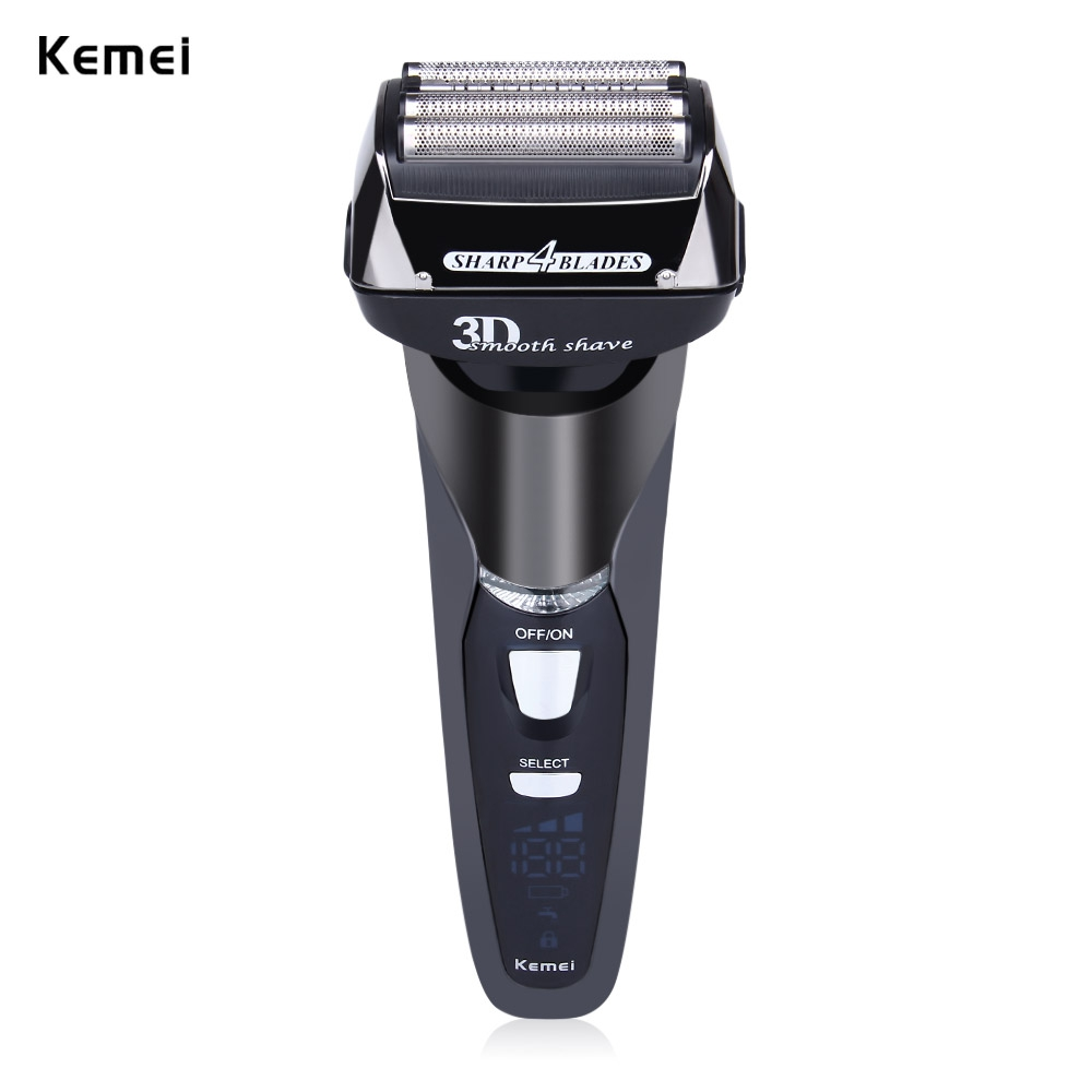 Kemei Black Men Razor Shavers Rechargeable Cordless Triple Blade Electric Shavering Washable Face Care Floating Head EU PLUG(China (Mainland))