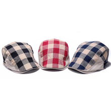 2017 New Arrival Canvas Men Women Checked Duckbill Ivy Cap Driving Flat Cabbie Newsboy Beret Hat Hot Sale
