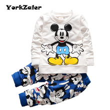 Mickey Boys Clothes Set Summer Cotton Girls Cartoon Mickey Tracksuit Mouse Toddler Tops Pants Clothing Suit Baby Kids Sets