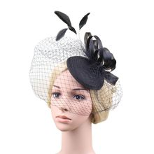 Women Flower Feather Net and Veil Hat Wedding Party Hair Clip Headdress Flower Headwear Hair Clip Black White