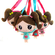 Korean version cartoon pigtail doll head children Messenger shoulder bag baby girls party bags gift(China)