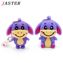 JASTER new arrival Cartoon hot silicon cute animals donkey usb disk 8gb USB flash drive 32 gb memory stick 100% real capacity