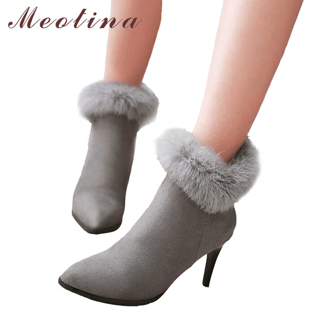 67e485a095b Meotina Women Ankle Boots High Heels Winter Shoes Fur Zip Stiletto Thin Heels  Short Boots Pointed