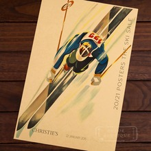 Fast Skier Skiing Vintage Retro Decorative Poster DIY Wall Home Bar Posters Home Decor Gift