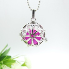 Fancy Design Large Flower Pattern Openable Locket Cage Long Pregnant Angel Caller and Diffuser Pendant Necklace DIY Jewelry